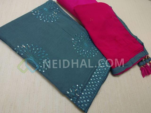 Blueish Grey soft modal fabric(flowy fabric) unstitched salwar materials(requires lining) with heavy thread work and sequins work on fronst side, sequins and thread work on daman patch, plain back, Pink Silk cotton bottom, Pink chiffon dupatta with tapings and tassels