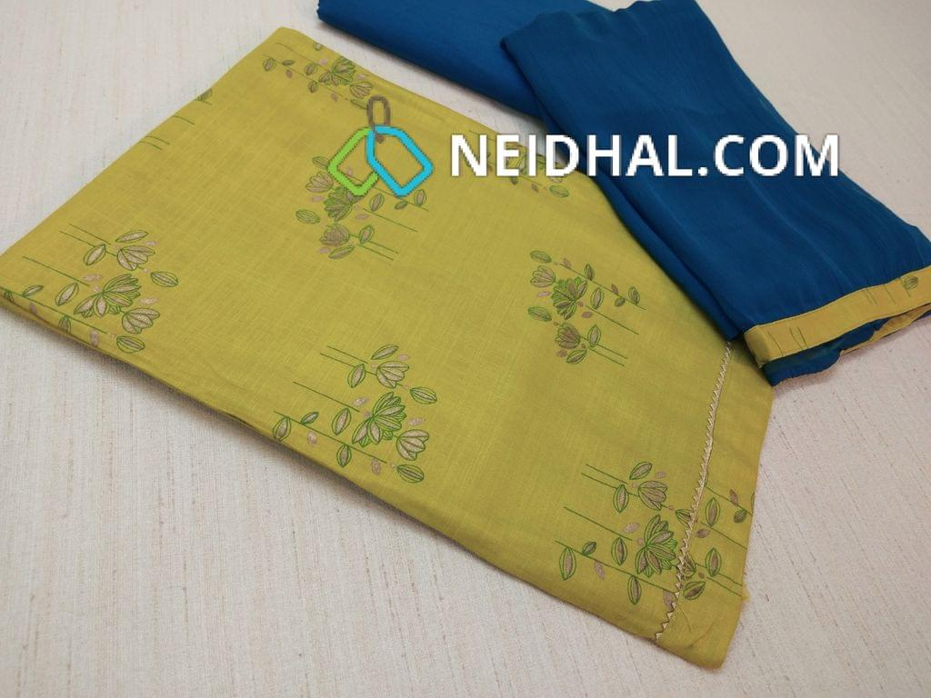 Printed Green Rayon Slub unstitched salwar material(requires lining), blue cotton bottom, Blue chiffon dupatta with taping
