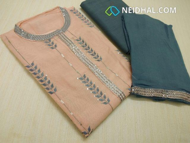 Designer Light Peach Silk Cotton unstitched Salwar material(requires lining) with neck patten,  thread and Sequins work on front side, plain back side,  Bluish grey cotton bottom, Bluish grey chiffon dupatta with tapings,