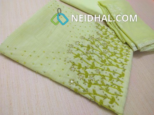 Designer Green Slub Soft silk Unstitched salwar material(Soft  and thin Material Requires lining) with heavy bead, pipe and mirror work on yoke, Soft Santoon bottom, Thread and sequins work on Chiffon dupatta with lace taping