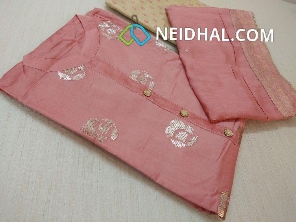 Diwali Collection: Designer Onion Pink Diable Soft Chanderi Semi stitched salwar material(requires lining) with heavy sequins work on front side, plain back, 3/4 sleeves, sides open, Beige printed Silk cotton bottom, Onion Pink diable Soft Chanderi dupatta with sequins work and Benaras taping