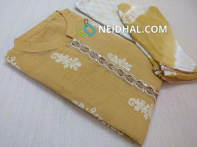 Diwali Collection: Designer Yellow Linen Unsitched Salwar material(requires lining) with Heavy thread work and sequins work on front side, Heavy bead, pipe and sequins work on yoke, Printed Silk cotton bottom, Printed Pure Chiffon dupatta with zari taping.