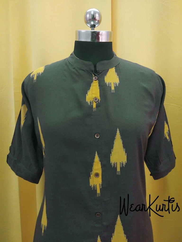 Printed Dark Green Modal fabric Kurti with front open placket(2 buttons can be unbuttoned)(Refer 3rd picture for measuring your fitting size, No Refund, No exchange, No cancellation), Mandarin Collar, Height 45, 3/4 Sleeves with flaps, front and side slit, one side pocket.