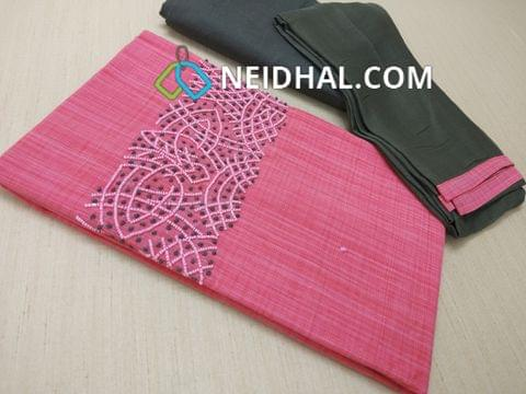Pink Silk Cotton unstitched Salwar material(requires lining) with bead and french knot work on yoke, Grey cotton bottom, Grey chiffon dupatta with taping