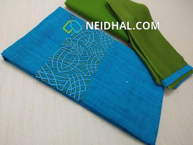 Blue Silk Cotton unstitched Salwar material(requires lining) with bead and french knot work on yoke, Green cotton bottom, Green chiffon dupatta with taping