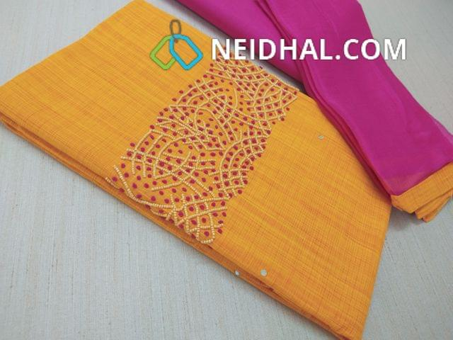 Yellow Silk Cotton unstitched Salwar material(requires lining) with bead and french knot work on yoke, Pink cotton bottom, Pink chiffon dupatta with taping