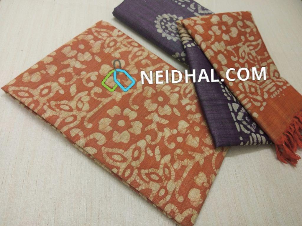 Batik Printed Light Brown Bhagalpuri cotton silk(thick fabric, lining not required), Blueish Purple Bhagalpuri cotton silk with prints at bottom side, Dual color Bhagalpuri Cotton silk dupatta with batick prints and tassels.