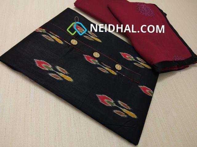 Ikkat printed Black Satin cotton unstitched Salwar material(requires lining) with fancy buttons, Maroon cotton bottom Maroon chiffon dupatta .with Embroidery .work and taping