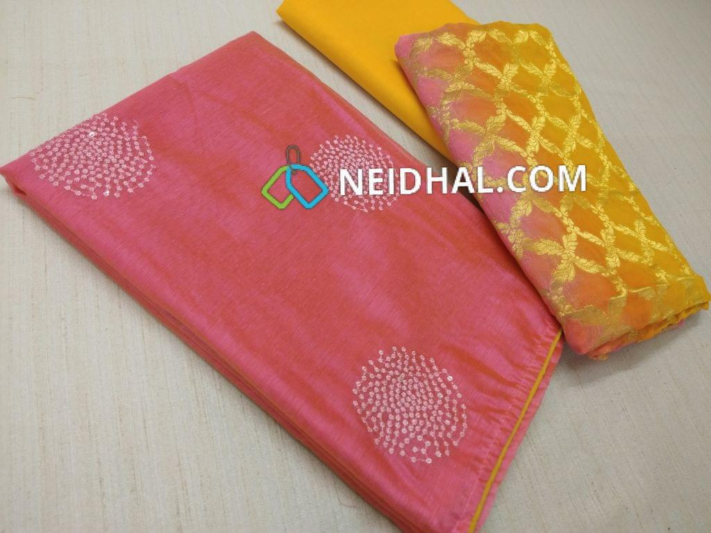 Pink Silk Cotton unstitched Salwar material(requires lining) with thread work and sequins work on front side, plain back, Yellow cotton bottom, Weaving multi color soft silk cotton dupatta with taping