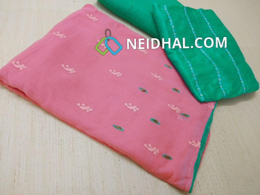 Designer Pink Georgette unsitched salwar material(requires lining) with thread and sequins work all over on front side, Contrast color thread and pipe work on yoke and daman, Green Tafeeta bottom, Heavy thread and sequins work on Green Georgette  short width duaptta