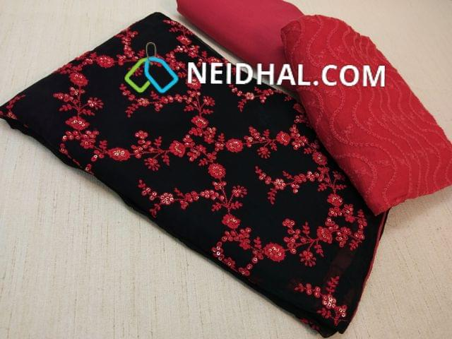 Designer Black Georgette unsitched salwar material(requires lining) with red thread and sequins work all over on front side, red cotton drum dyed bottom, Red chiffon dupatta with heavy thread work.