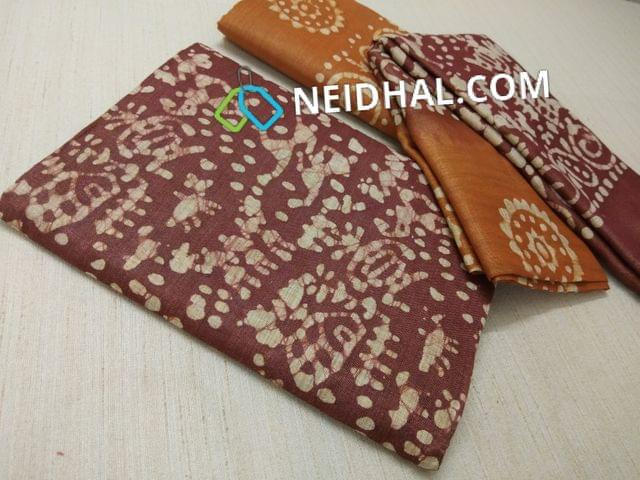 Batik Printed Maroonish Red Bhagalpuri cotton silk(thick fabric, lining not required), Brown Bhagalpuri cotton silk with prints at bottom side, Dual color Bhagalpuri Cotton silk dupatta with batick prints and tassels.