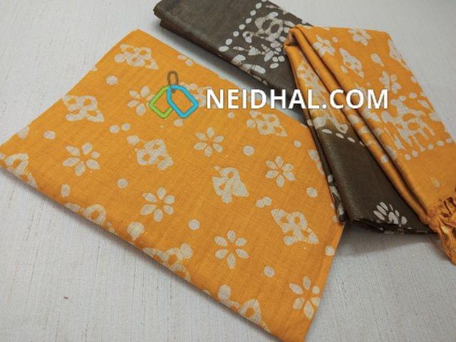 Batik Printed Yellow Bhagalpuri cotton silk(thick fabric, lining not required), Green Bhagalpuri cotton silk with prints at bottom side, Dual color Bhagalpuri Cotton silk dupatta with batick prints and tassels.