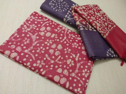 Batik Printed Red Bhagalpuri cotton silk(thick fabric, lining not required), Purpleish Blue Bhagalpuri cotton silk with prints at bottom side, Dual color Bhagalpuri Cotton silk dupatta with batick prints and tassels.