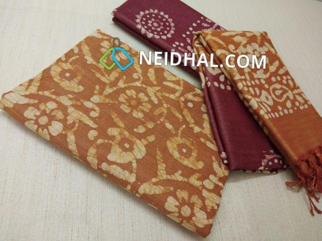 Batik Printed Brownish Yellow Bhagalpuri cotton silk(thick fabric, lining not required), Maroonish Red Bhagalpuri cotton silk with prints at bottom side, Dual color Bhagalpuri Cotton silk dupatta with batick prints and tassels.