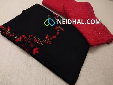 Designer Black Georgette unsitched salwar material(requires lining) with Heavy thread Thread and pipe work on yoke,  Red cotton bottom, Heavy thread and sequins work on Red Chiffon duaptta with laces.