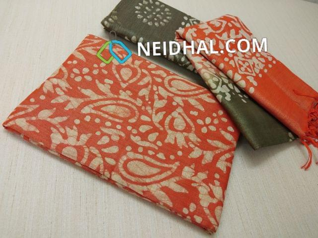 Batik Printed Orange Bhagalpuri cotton silk(thick fabric, lining not required), Green Bhagalpuri cotton silk with prints at bottom side, Dual color Bhagalpuri Cotton silk dupatta with batick prints and tassels.