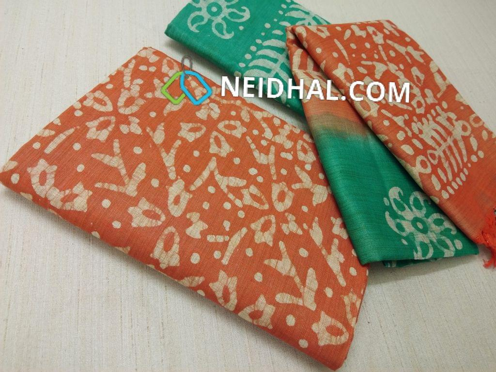Batik Printed Orange Bhagalpuri cotton silk(thick fabric, lining not required), Green Bhagalpuri cotton silk with prints at bottom side, Dual color Bhagalpuri Cotton silk dupatta with batick prints and tassels.