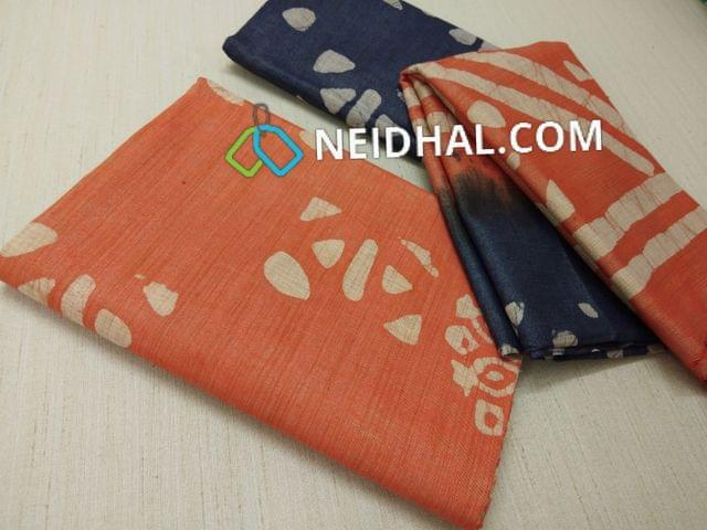 Batik Printed Orange Bhagalpuri cotton silk(thick fabric, lining not required), Blue Bhagalpuri cotton silk with prints at bottom side, Dual color Bhagalpuri Cotton silk dupatta with batick prints and tassels.