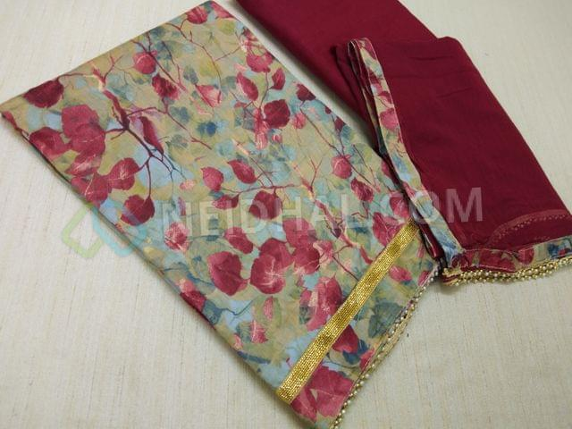 Beige Satin cotton Floral printed unstitched salwar material with zari daman patch, daman with bead taping, maroon cotton bottom, maroon chiffon dupatta with bead taping.
