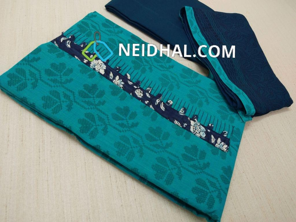 Printed Blue Handloom cotton unstitched salwar material with yoke patch work, Blue cotton bottom, Block Printed Blue chiffon dupatta with taping