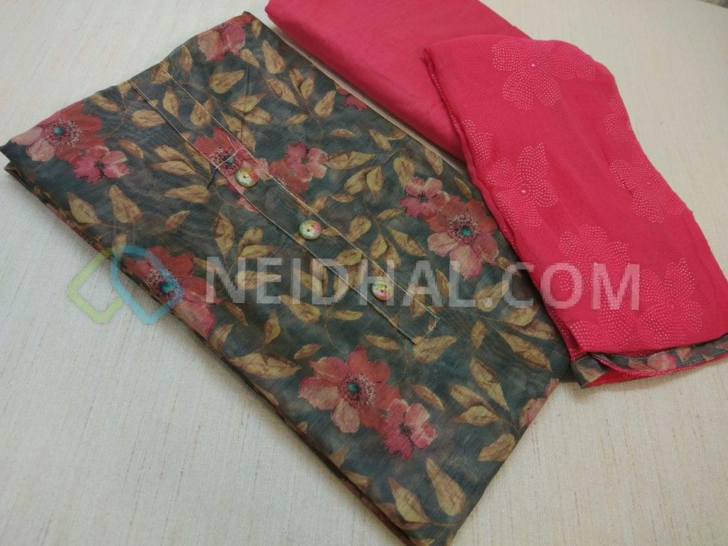 Digital Printed Grey Silk Cotton UnStitched (requires lining) salwar material with buttons on yoke, Pink cotton bottom, Pink chiffon dupatta with floral dew drops work and taping.