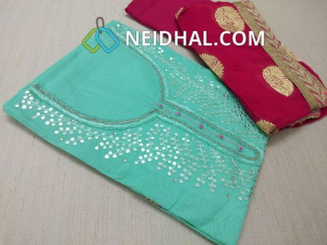 Diwali Collection: Designer Turquoise Blue Silk Cotton unstitched Salwar material(requries lining) with stone work, hard mirror work on yoke, Pinkish Red cotton bottom, Pinkish Red Georgette short width dupatta with Benaras weaving, zari, Bead and gotta work on taping