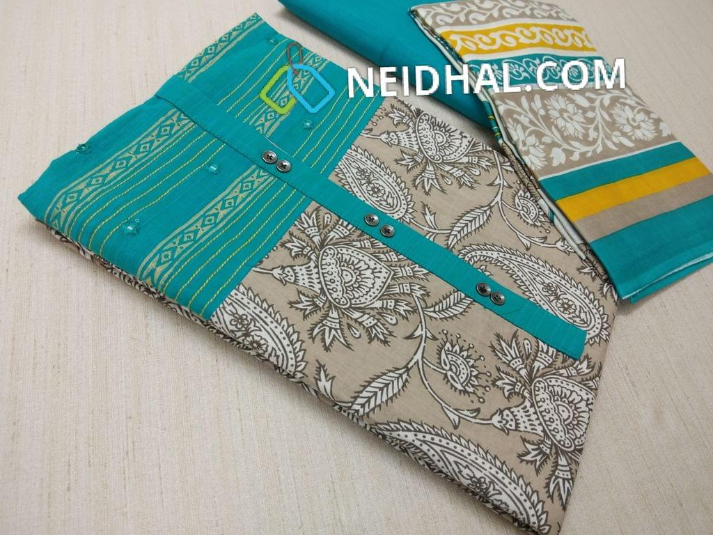 Beige Kalamkari printed Cotton unstitched Salwar material(requries lining) with Blue patch work on topline, fancy buttons, Blue Cotton bottom, printed cotton dupatta (VIDEO IS FOR REFERENCE ONLY, SUIT IN VIDEO HAS DIFFERENT DESIGN)