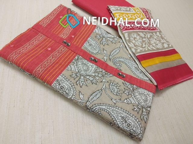 Beige Kalamkari printed Cotton unstitched Salwar material(requries lining) with Peach patch work on topline, fancy buttons, Peach Cotton bottom, printed cotton dupatta (VIDEO IS FOR REFERENCE ONLY, SUIT IN VIDEO HAS DIFFERENT DESIGN)