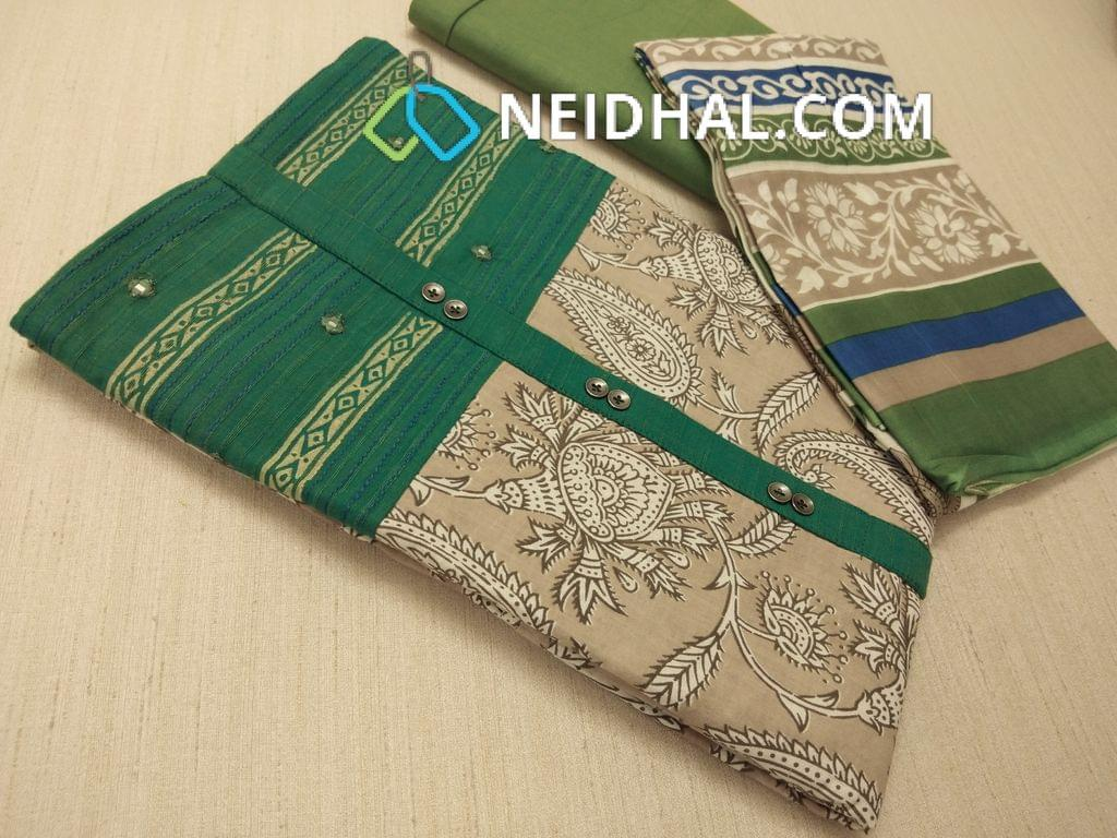 Beige Kalamkari printed Cotton unstitched Salwar material(requries lining) with Green patch work on topline, fancy buttons, Green Cotton bottom, printed cotton dupatta (VIDEO IS FOR REFERENCE ONLY, DESIGN IN VIDEO IS DIFFERENT )
