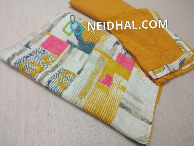 Printed Rayon Unstitched Salwar material(flowy fabric), Yellow cotton bottom, Yellow chiffon dupatta with heavy embroidery work and taping
