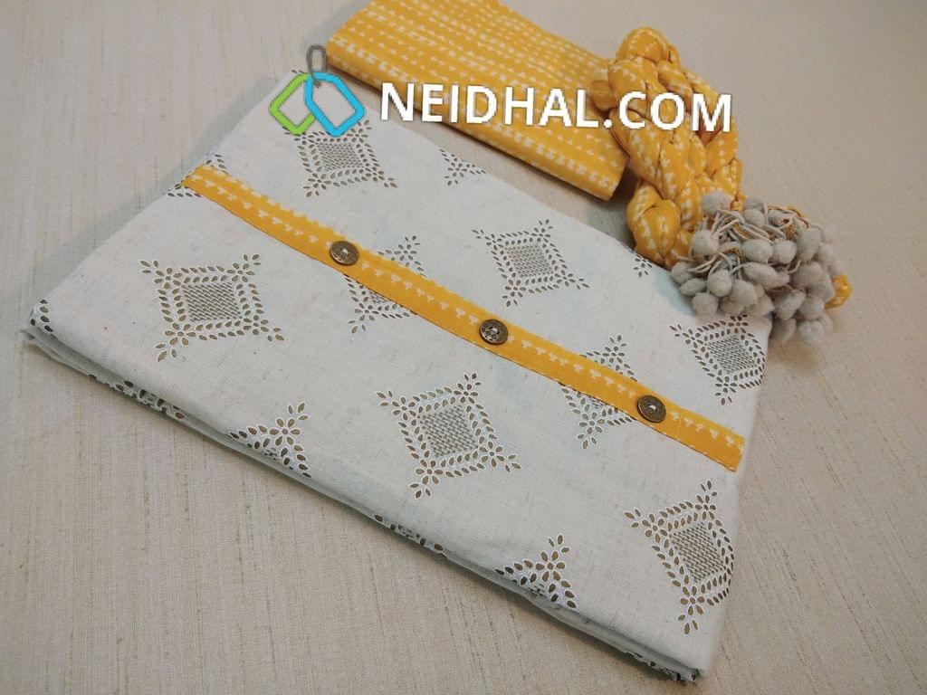 Premium Half white Jute Flex cotton unstitched Salwar material with golden printes, Printed soft Yellow cotton bottom, Printed Yellow mul cotton dupatta with pom pom taping.
