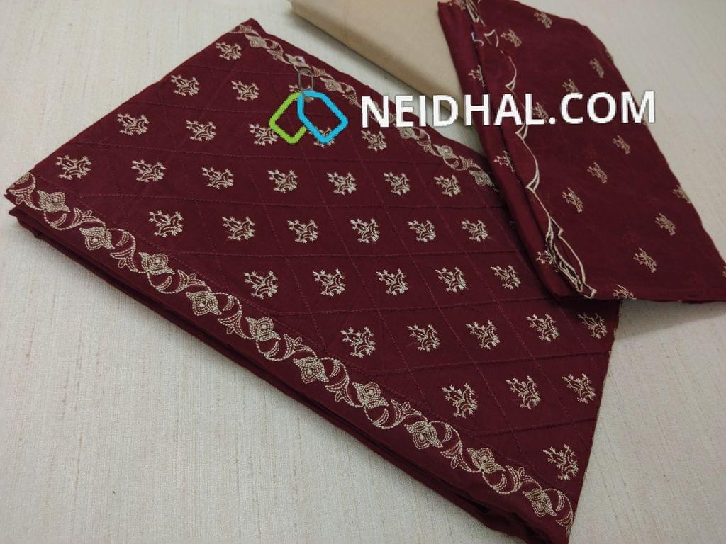 CODE A10001 : Maroon Silk cotton unstiched salwar material(requires lining) with embroidery work on yoke, embroidery work on front side, plain back, beige cotton bottom, Maroon silk cotton dupatta with embroidery work taping