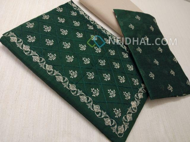CODE A10000 : Green Silk cotton unstiched salwar material(requires lining) with embroidery work on yoke, embroidery work on front side, plain back, beige cotton bottom, Green silk cotton dupatta with embroidery work taping