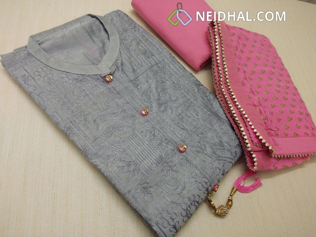 CODE S10009 : Silver Grey Chanderi unstiched salwar material(requires lining) with heavy thread work on front side, plain back, fancy buttons and tassels, peachish pink silk cotton bottom, golden weaving on chiffon duappa with fancy borders.