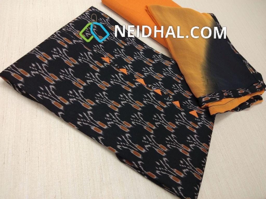 CODE S10002 : Black Ikkat printed Cotton unstitched Salwar material, Orange cotton bottom, dual color nazneen dupatta with taping