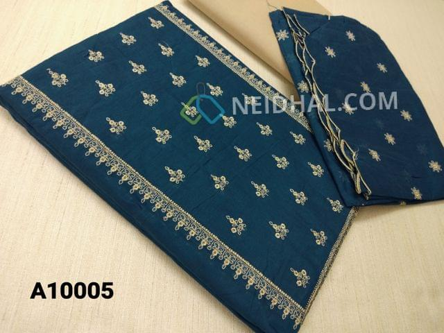 CODE A10005 : Blue Silk cotton unstitched salwar material(requires lining) with embroidery work on yoke, embroidery work on front side, plain back, beige cotton bottom, Blue silk cotton dupatta with embroidery work taping