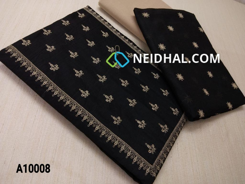 CODE A10008 : Black Silk cotton unstitched salwar material(requires lining) with embroidery work on yoke, embroidery work on front side, plain back, beige cotton bottom, Blue silk cotton dupatta with embroidery work taping