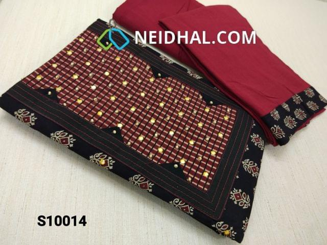 CODE S10014 : Premium Ajrak Printed Black Cotton Unstitched salwar material(requires lining) with thread and foil mirror work on yoke, maroon cotton bottom, maroon mul cotton dupatta with tapings (VIDEO IS FOR REFERENCE ONLY, SUIT IN VIDEO HAS DIFFERENT DESIGN)