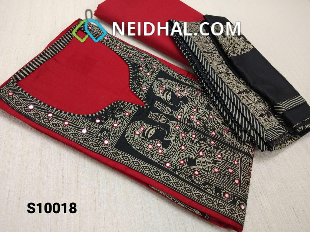 CODE S10018 : RedThin cotton unstitched salwar material(requires lining) with yoke patch work, pipe, beads, faux mirror work, Golden prints, daman patch, Red cotton bottom, Greyish Black Soft Silk Cotton dupatta with Golden Egyptian prints