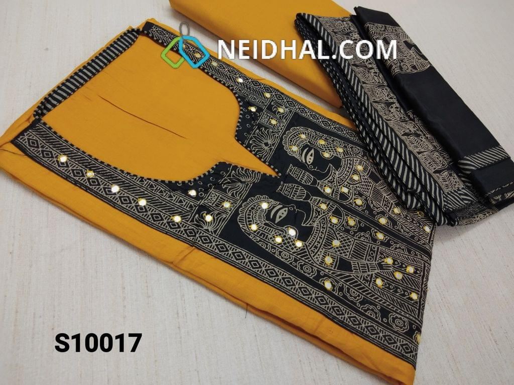 CODE S10017 : Yellow Thin cotton unstitched salwar material(requires lining) with yoke patch work, pipe, beads, faux mirror work, Golden prints, daman patch, Yellow cotton bottom, Greyish Black Soft Silk Cotton dupatta with Golden Egyptian prints