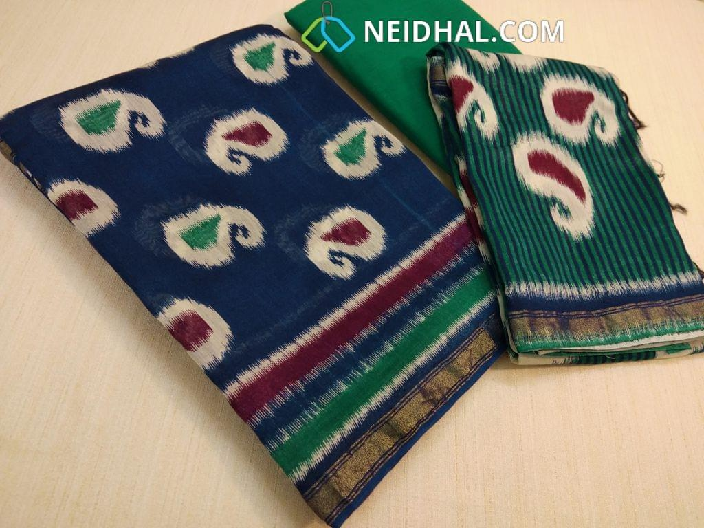 Patola Printed Blue Maheswari Silk unstitched salwar material(requires lining) with zari daman, Green cotton bottom, Patola printed maheswari silk dupatta with zari and  tassels(requires taping)