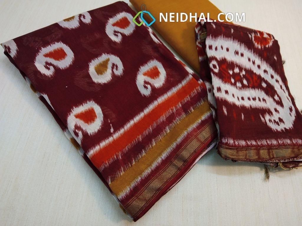 Patola Printed Marooish Brown Maheswari Silk unstitched salwar material(requires lining) with zari daman, Yellow cotton bottom, Patola printed maheswari silk dupatta with zari and  tassels(requires taping)