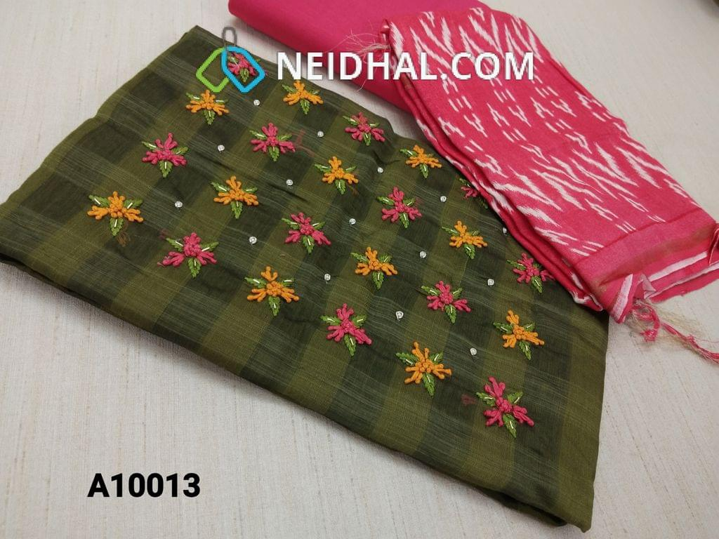CODE A10013 : Green Silk Cotton unstitched salwar material(requires lining) with thread, bead, pipe work on yoke, Pink drum dyed cotton bottom, Soft Slub Flowy Silk Cotton dupatta with block printed(Prints may be overlapped, misprints, light stains are features, taping needs to be stitched instead of tassels of block print) ikkat prints