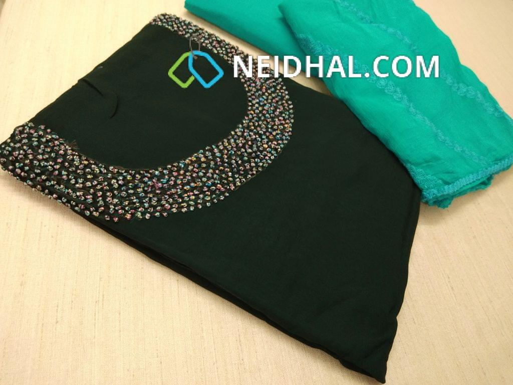 Designer Green Georgette unsitched salwar material(requires lining) with Heavy french knot, thread and bead work on yoke, daman taping, Sea Green Silk cotton bottom, Heavy thread and sequins work on Pink Chiffon duaptta with laces.