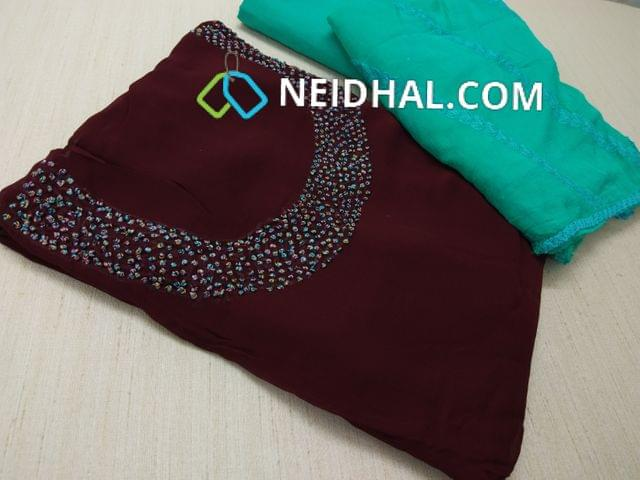 Designer Maroonish Red Georgette unsitched salwar material(requires lining) with Heavy french knot, thread and bead work on yoke, daman taping, Sea Green Silk cotton bottom, Heavy thread and sequins work on Pink Chiffon duaptta with laces.