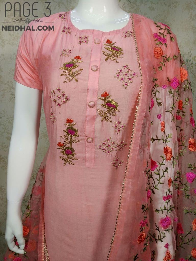 PAGE 3: Designer Pink Chanderi unstitched Salwar material(requires lining) with Thread, Zari, Sequins and French knot work on yoke, Pink cotton bottom, heavy embroidery work on super net dupatta with zari taping