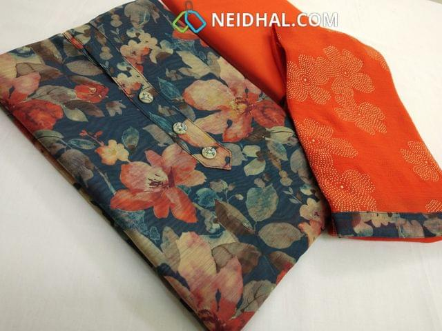 Premium Digital Printed Blue Silk Cotton Unstitched(requires lining) salwar material with buttons on yoke, orange cotton bottom, orange chiffon dupatta with tapings.