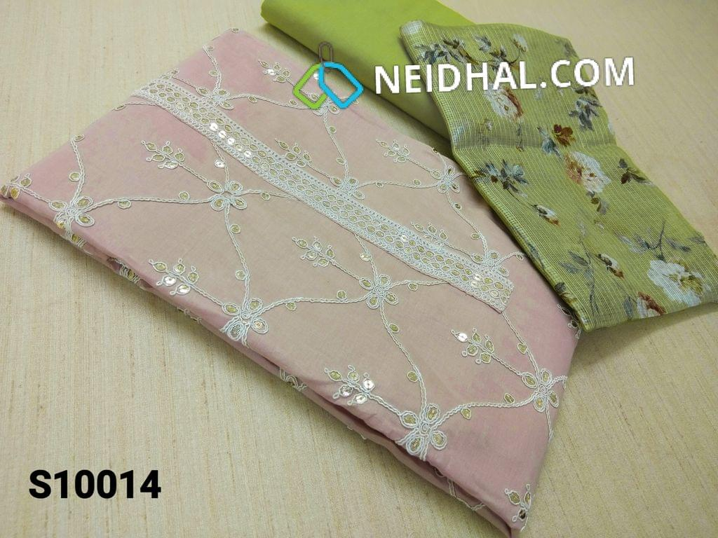 CODE S10014 : Pale Pink Thin Cotton unstitched Salwar material(requires lining) with heavy thread and sequins work on yoke and front side, Plain back, Green cotton bottom, Digital floral printed Green fancy silk kota dupatta.