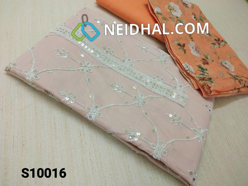CODE S10016 : Pale Pink Thin Cotton unstitched Salwar material(requires lining) with heavy thread and sequins work on yoke and front side, Plain back, Orange cotton bottom, Digital floral printed Orange fancy silk kota dupatta.